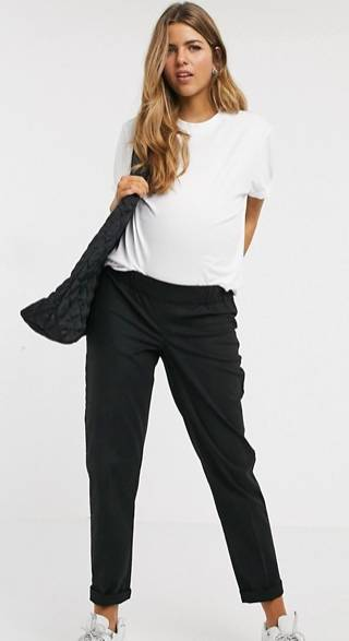 black maternity golf pants
