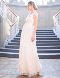 long lace maternity wedding gown plus size