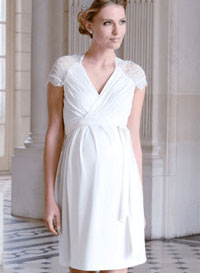 white lace plus size maternity wedding dress