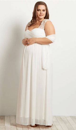 plus size maternity wedding dress with open back