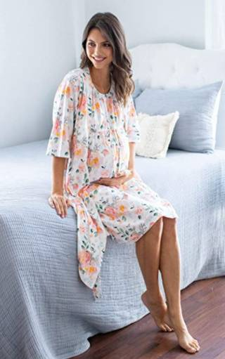 classic nursing nightgown with robe