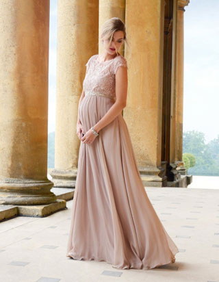 romantic maternity wedding guest dress