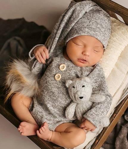 romper and sleep hat for newborn photo