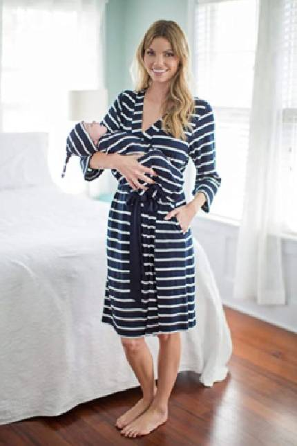Matching Delivery Robe and Baby Swaddle Set