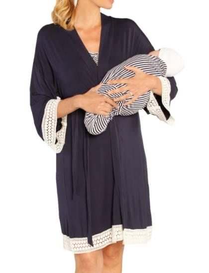 maternity robe, nursing dress and baby blanket set