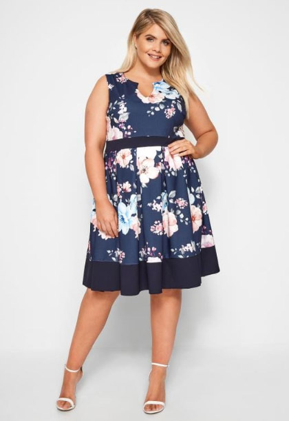 maternity and plus size cocktail dress wit flowers