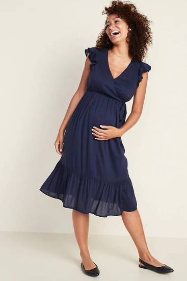 maternity wrap front dress