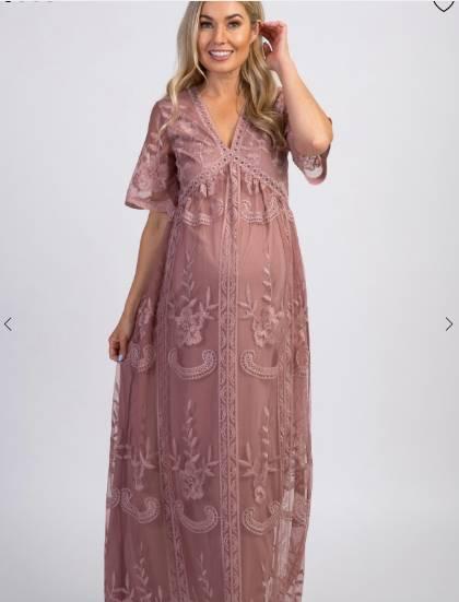 lace maternity maxi dress