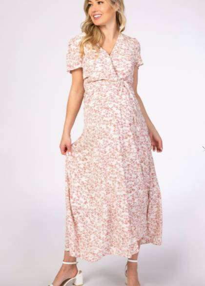floral maternity and nursing wrap dress