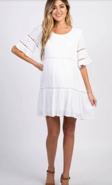 white baby shower maternity dress