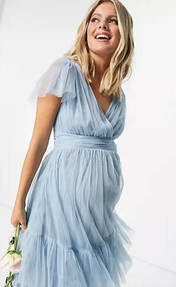 tulle maternity dress in blue