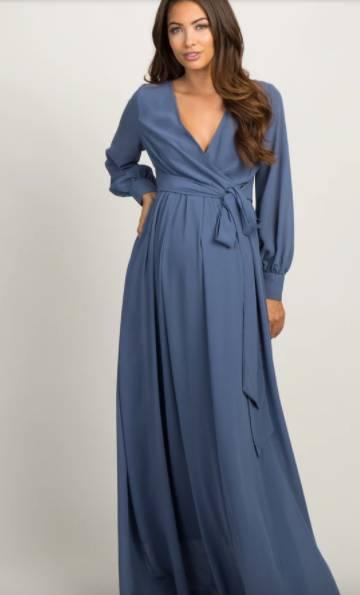 blue maternity shower dresses