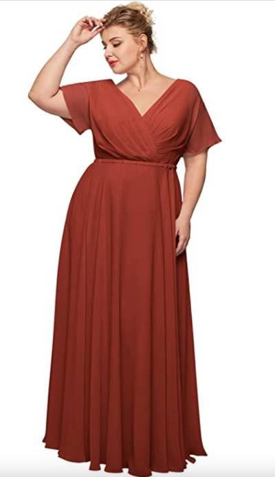 chiffon bridesmaid dress in big sizes